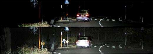 上)Low beam (下)Adaptive Driving Beam